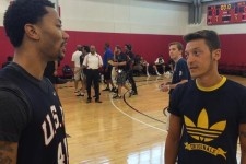 German footballer Mesut Özil drops by Team USA training camp