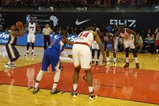 LOOK: Dikembe Mutombo, Hakeem Olajuwon hit the court for NBA Africa game