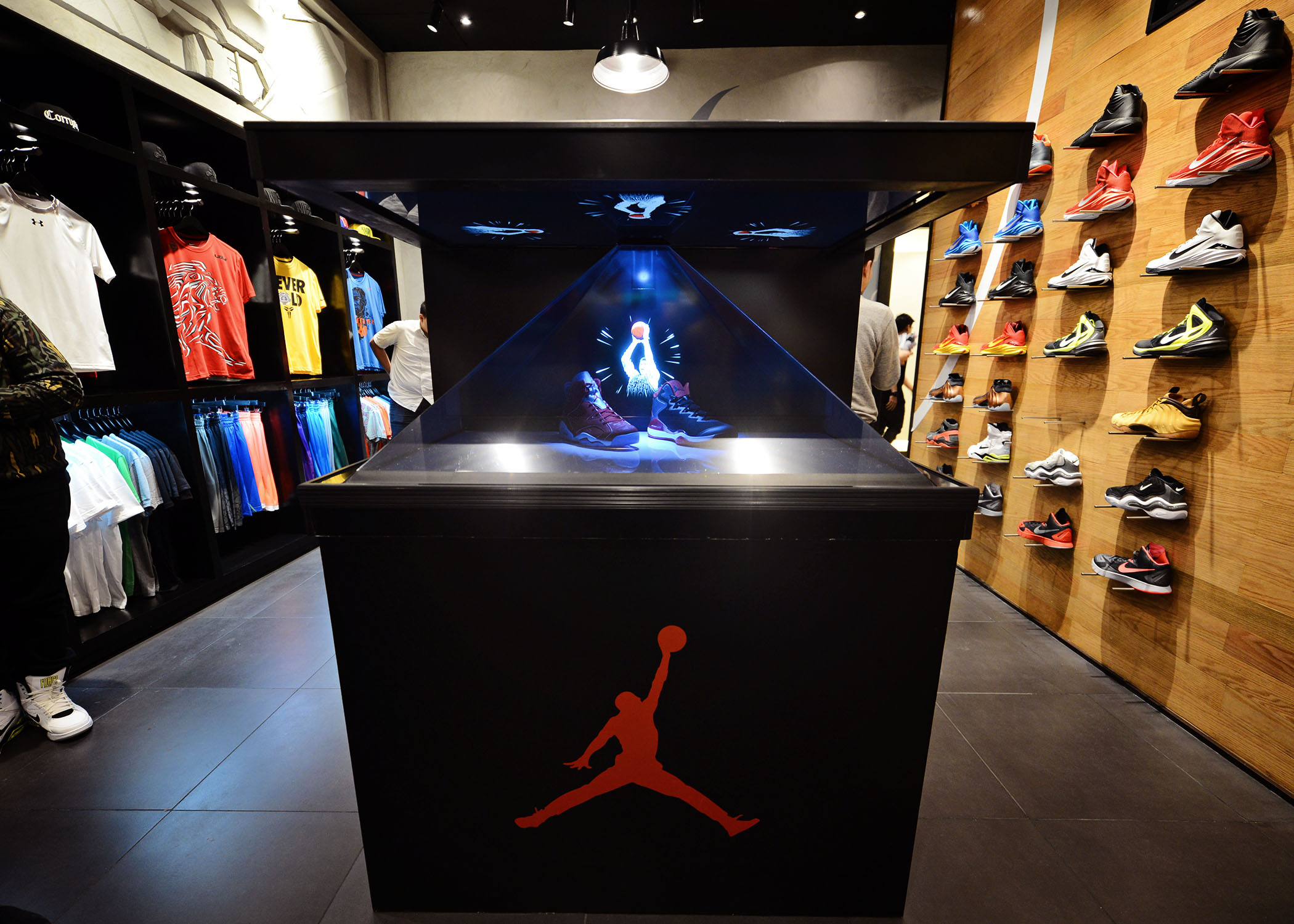 The Jordan 6 Retro and Super.Fly 3 'Slam Dunk' edition on display